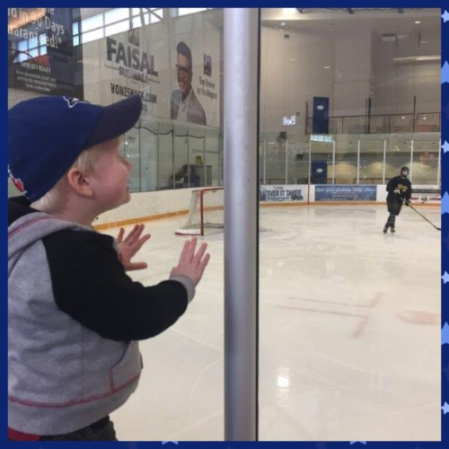 A fun ride on the city bus to the mall ended up with even more excitement!  The mall has an ice pad and there were kids playing hockey so this little guy got to watch.