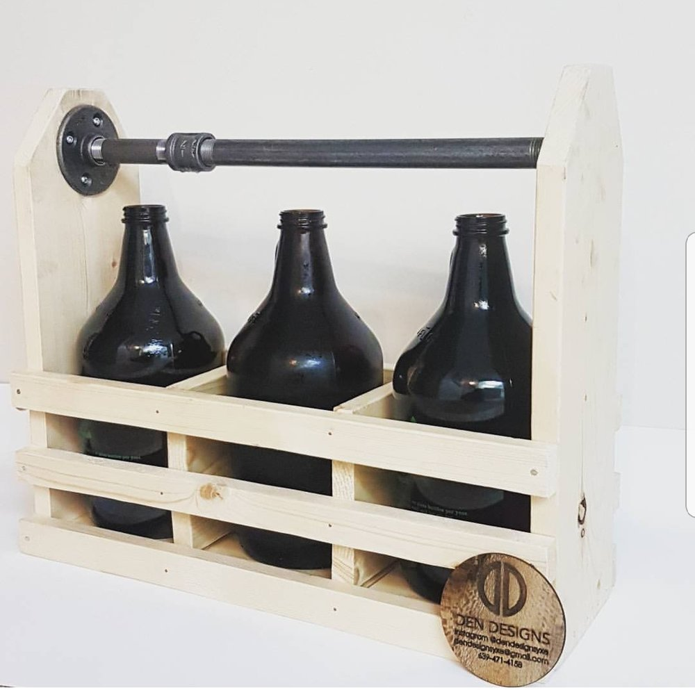 Growler Totes - Carry your favourite brews around in these robust carriers. Can be made to hold 2 or 3 growlers and for 1 or 2 litres.