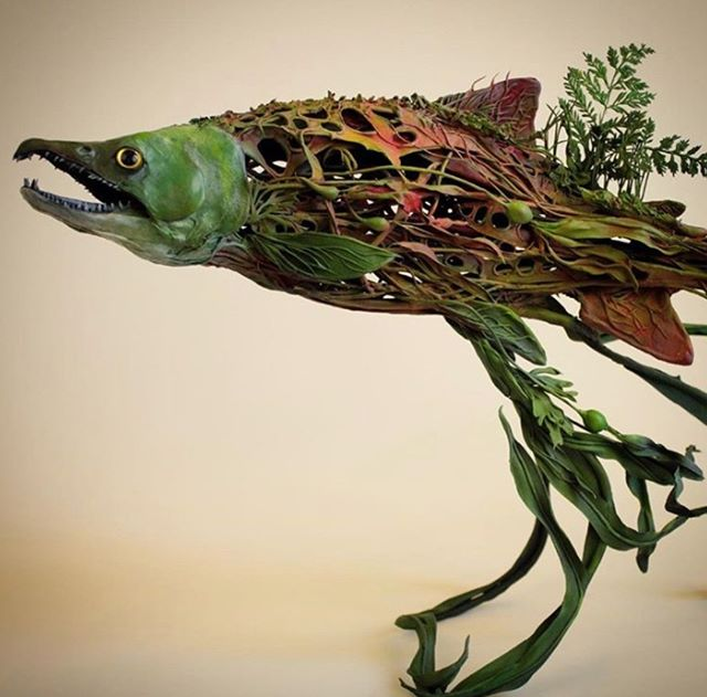 Sculpture by Ellen Jewett.  #ellenjewett #sculpture #ooak #surrealism #biosurrealism #salmon #sockeyesalmon #westcoast