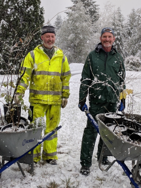 - Our volunteers had no problem with the snow on site prep day