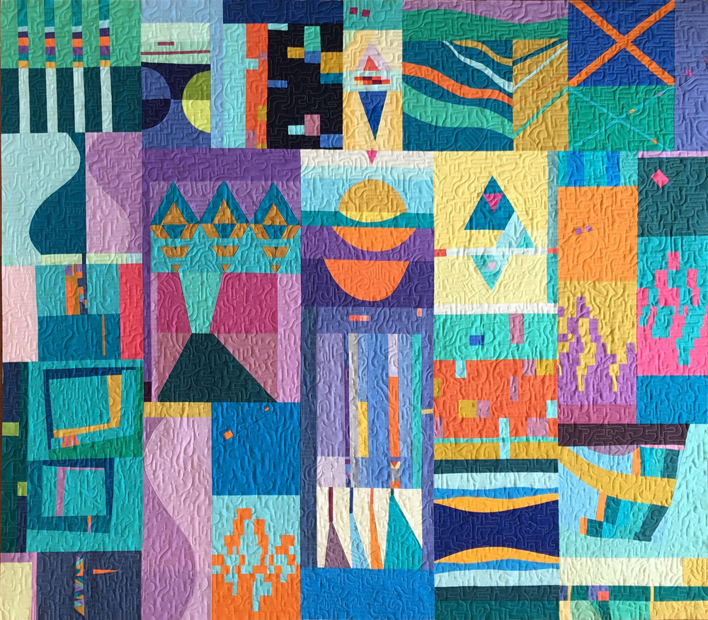 "2nd   Place: Reflections  67"" x 58"" Pieced by members of BeeSewcial: Karen Foster, Stephanie Ruyle, Leanne Chahley, Debbie Jeske, Hillary Goodwin, Felicity Ronaghan, Marci Debetaz, Kari Voitechovsky, Melissa Richie, Diane Stanley Quilted by Karen Foster South Bay Area MQG, Capitola, CA"