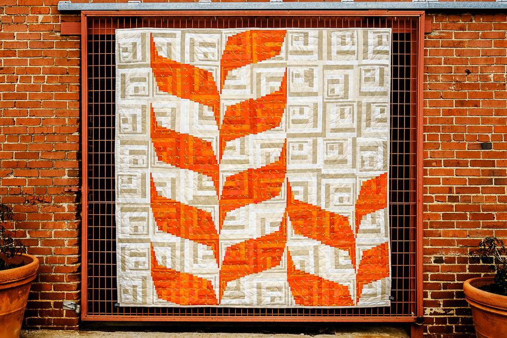 "3rd   Place: Prairie Silk   89"" x 90"" Pieced and quilted by Agnes Stadler,Ann Solinski, Debbie Wanzer, Elizabeth Richards, Katie Cox Oklahoma City MQG, Edmond, Oklahoma"