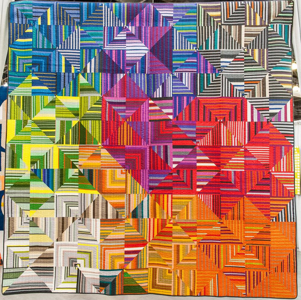 "Ribbon Quilt  105"" x 105"" Pieced by Sarah Bond Philadelphia MQG,Philadelphia, PA Quilted by Carol Heisler"