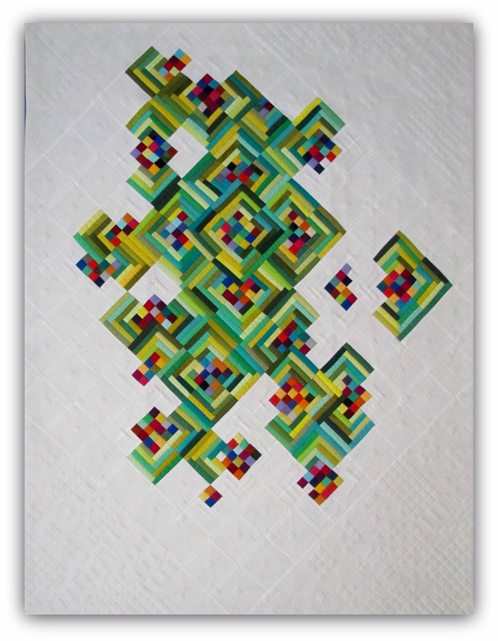 """Not Easy Being Green  40"""" x 54"""" Pieced and quilted by Mary Keasler Chattanooga, TN, United States Chattanooga Modern Quilt Guild"""