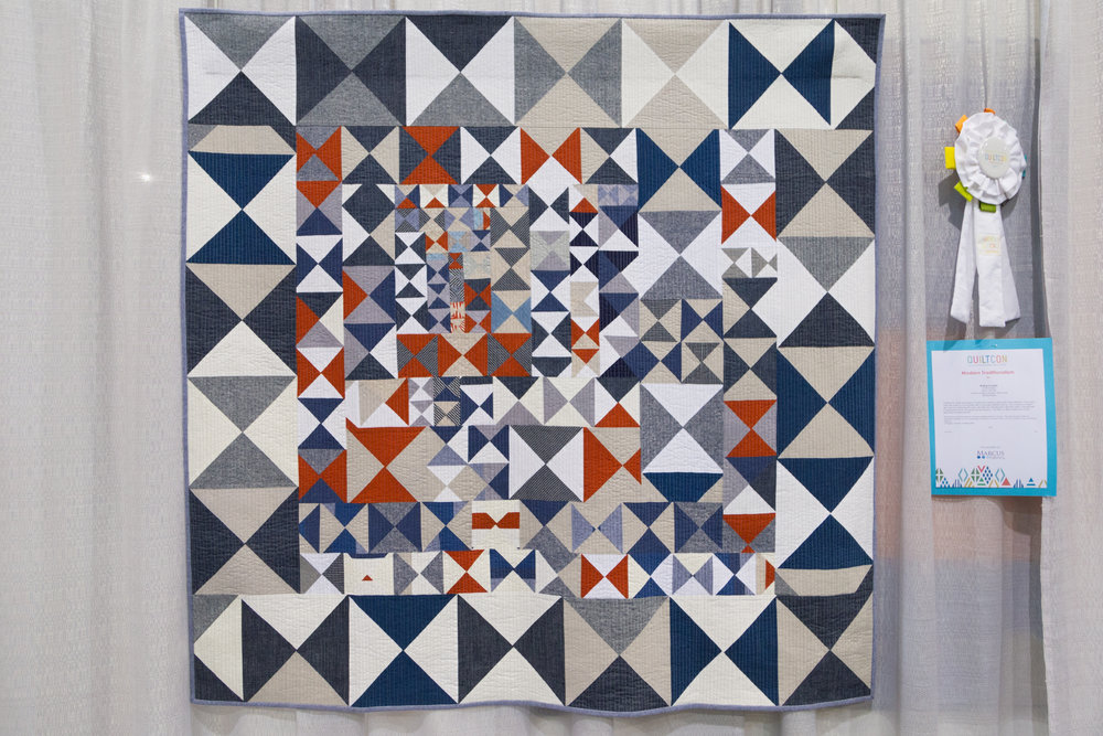 """Waiting for Sanity  49"""" x 48'"""" Pieced and quilted by Kristin Shields Bend, OR, United States Central Oregon Modern Quilt Guild"""