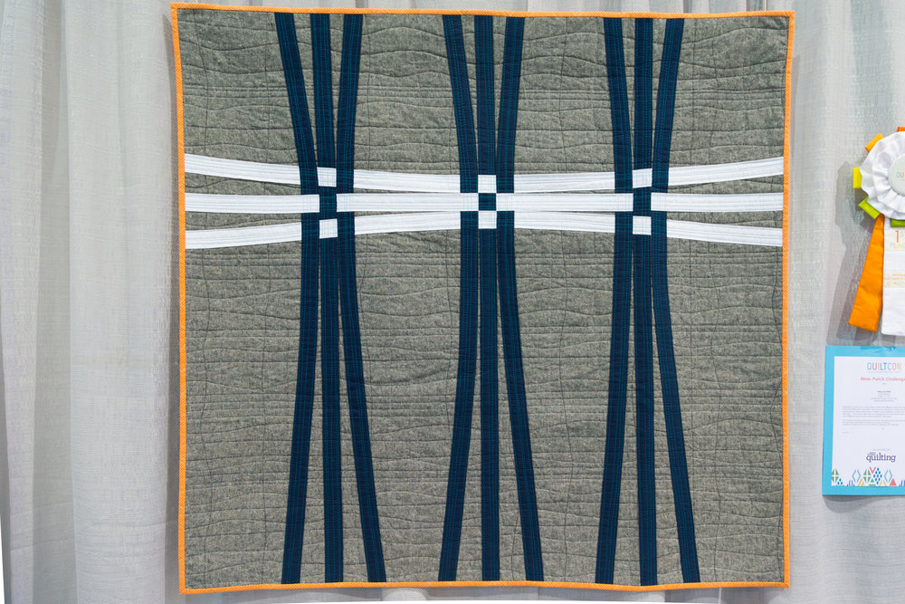 """1st Place: Warp and Weft  43"""" x 41"""" Pieced and quilted by Cheryl Brickey Greer, South Carolina, United States Greenville Modern Quilt Guild"""