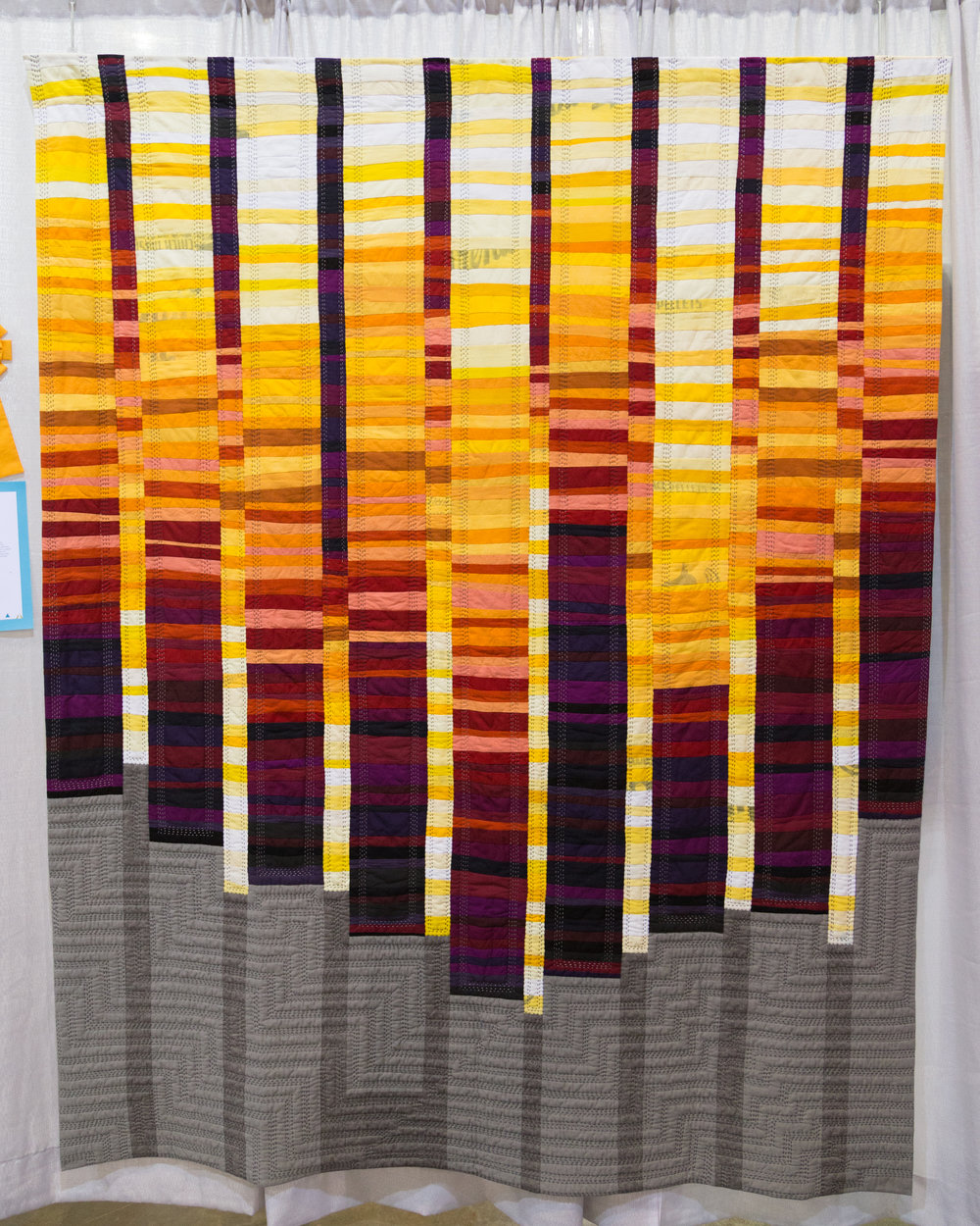 """2nd Place: Quilt no.019: Of Discontent  67.5"""" x 84"""" Pieced and quilted by Shelby Skumanich Loveland, CO, United States Denver Metro Modern Quilt Guild"""