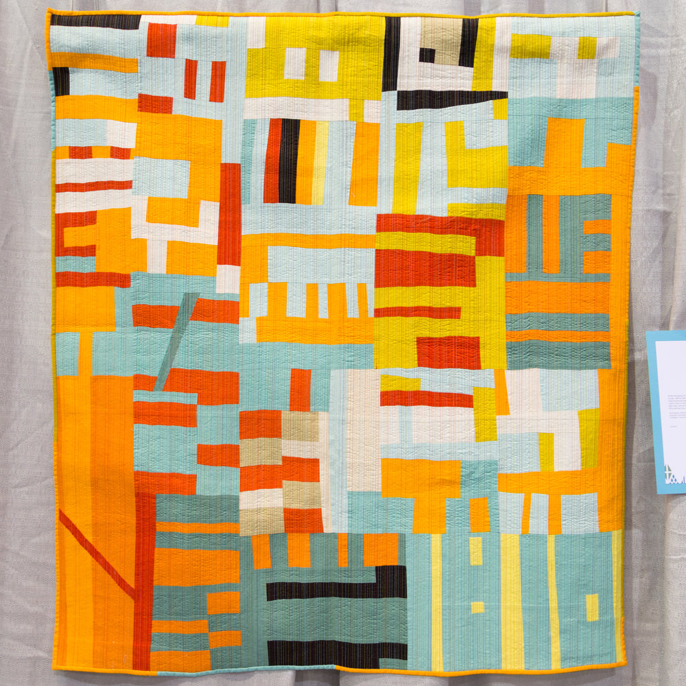 """2nd Place: What IF: A Color Study  42"""" x 46"""" Pieced and quilted by Lynn Crymes Charleston, SC, United States Charleston Modern Quilt Guild"""