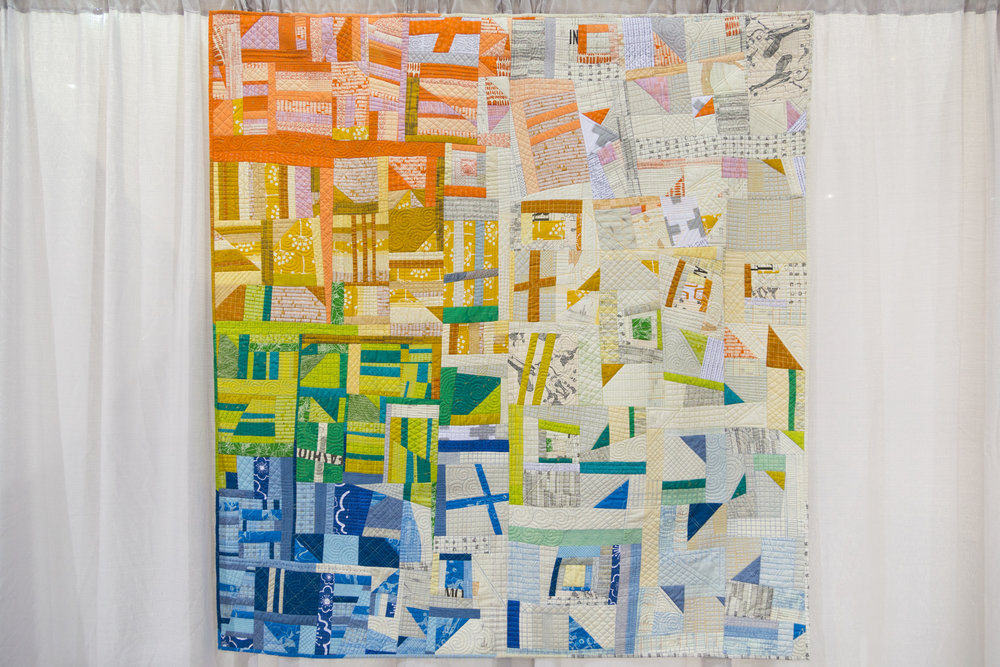 """3rd Place: Scattered  65"""" x 68"""" Pieced and quilted by Jess Frost Mount Stuart, Tasmania, Australia Tasmanian Modern Quilt Guild"""