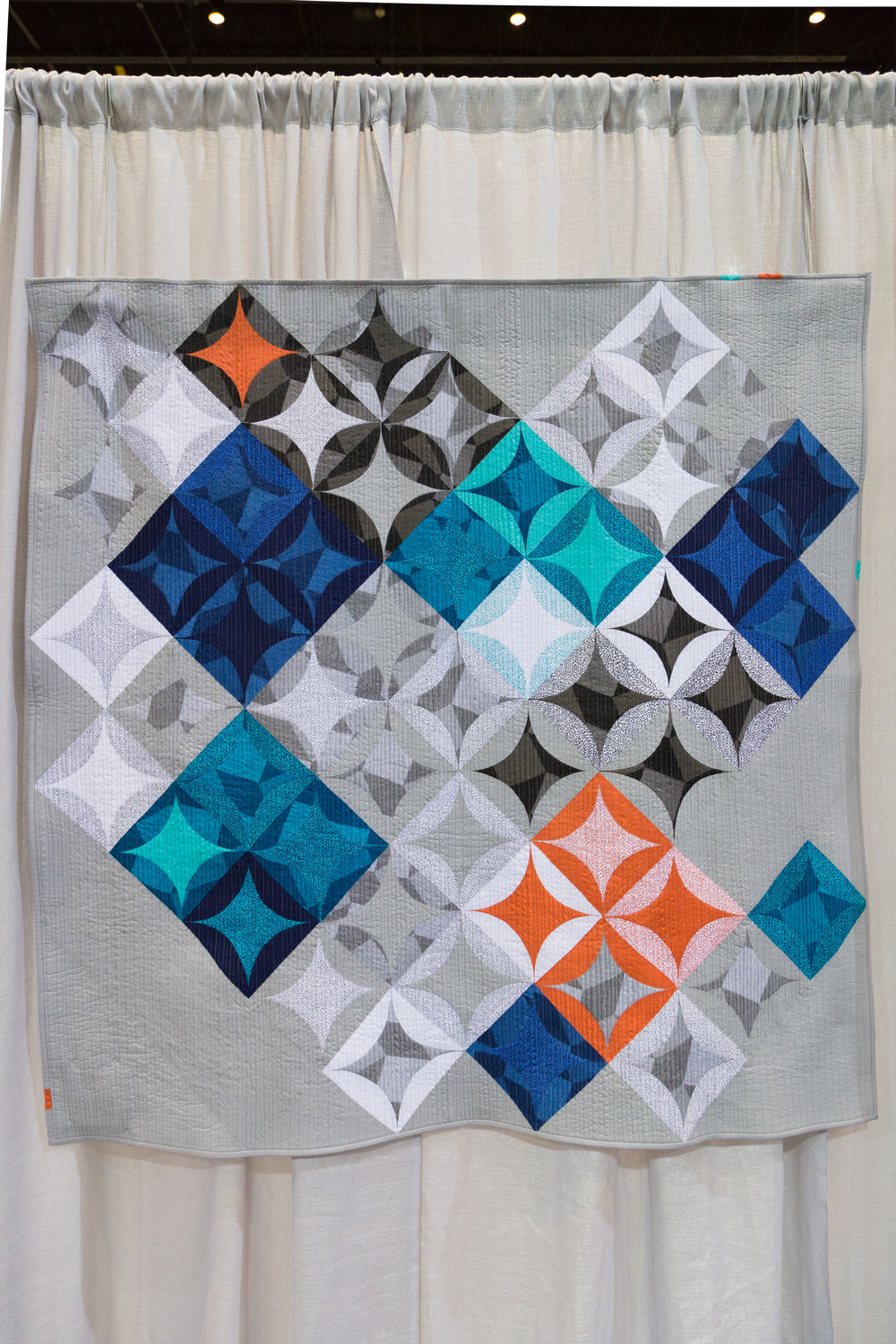 """1st Place: Luxe Modern  59"""" x 62"""" Pieced and quilted by Susan Clay Santa Fe, New Mexico, United States Individual MQG Member"""
