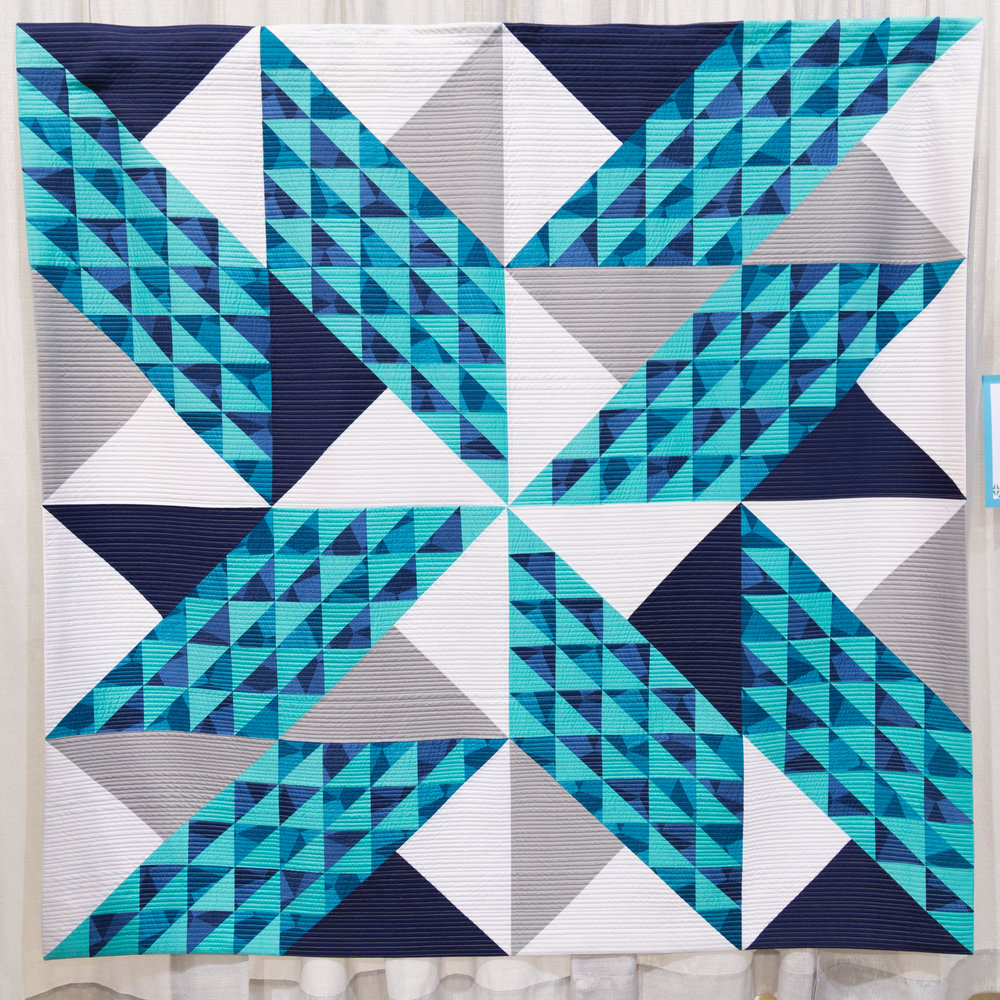 """3rd Place: ANDTHENTHISHAPPENED  80"""" x 80"""" Pieced and quilted by Dawn Golstab Leander, Texas, United States Austin Modern Quilt Guild"""