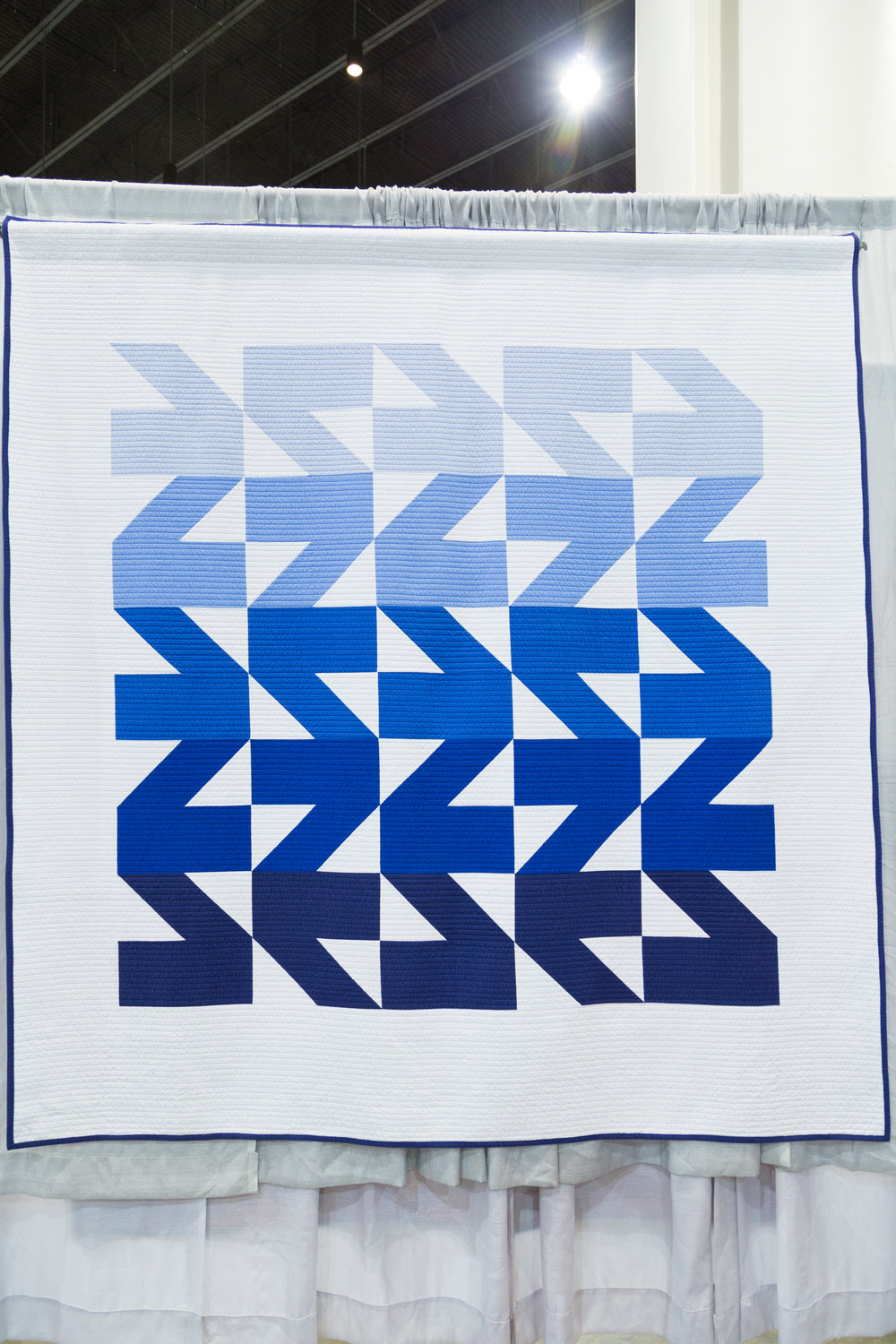 """1st Place: Modern Waves Quilt  85"""" x 91"""" Pieced and quilted by Kristi Schroeder Quilted by Lee Jenkins of Dallas, Texas Austin, TX, United States Austin Modern Quilt Guild"""