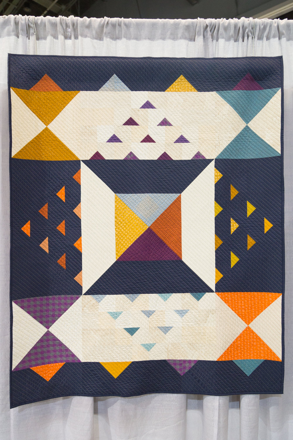 """3rd Place: Autumn Hours  45"""" x 60"""" Pieced and quilted by Daisy Aschehoug Baton Rouge, LA, United States Baton Rouge Modern Quilt Guild"""