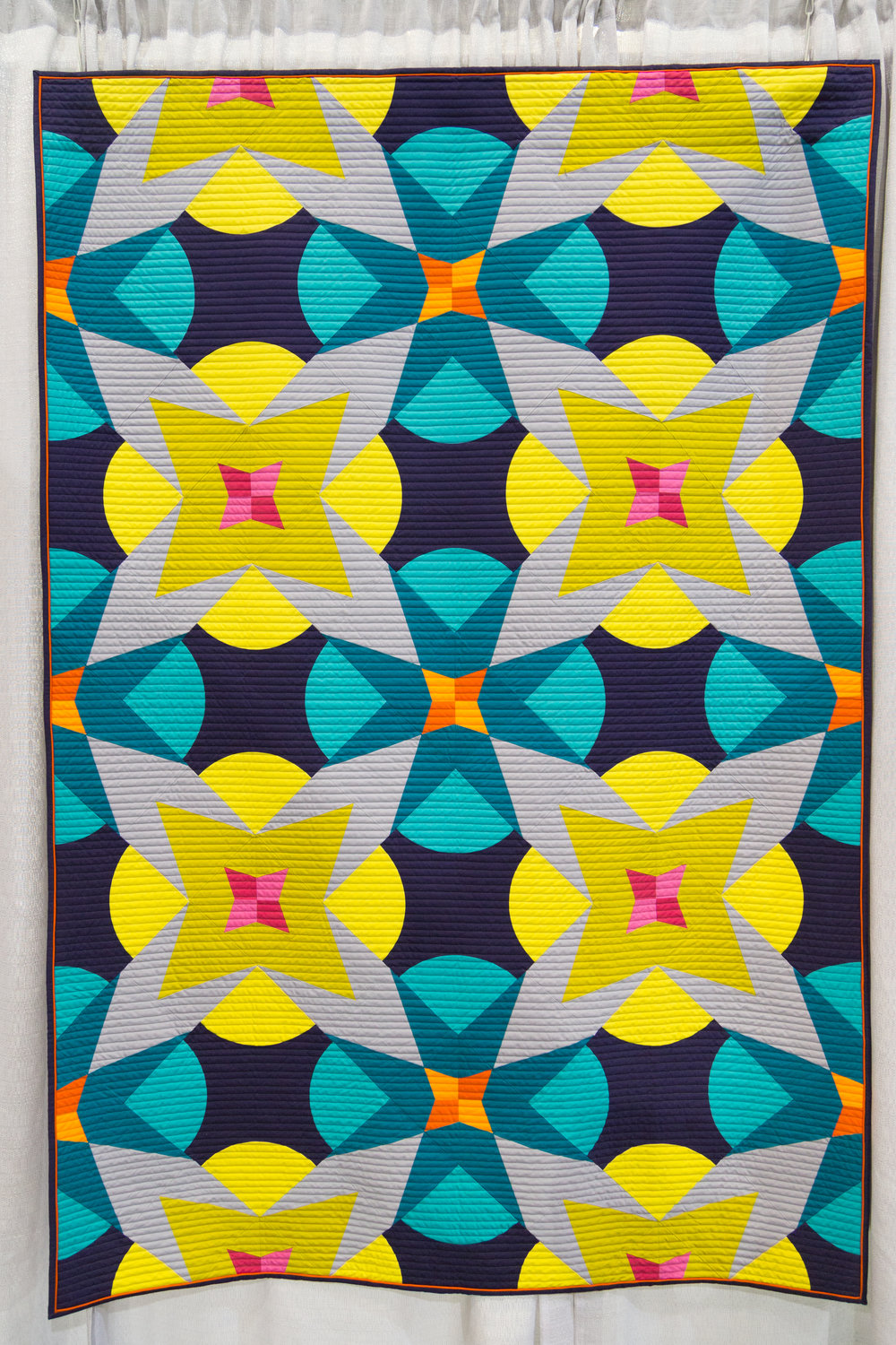 """2nd Place: Fireworks  50"""" x 76"""" Pieced and quilted by Jeannie Jenkins Willowdale, Ontario, Canada Toronto Modern Quilt Guild"""