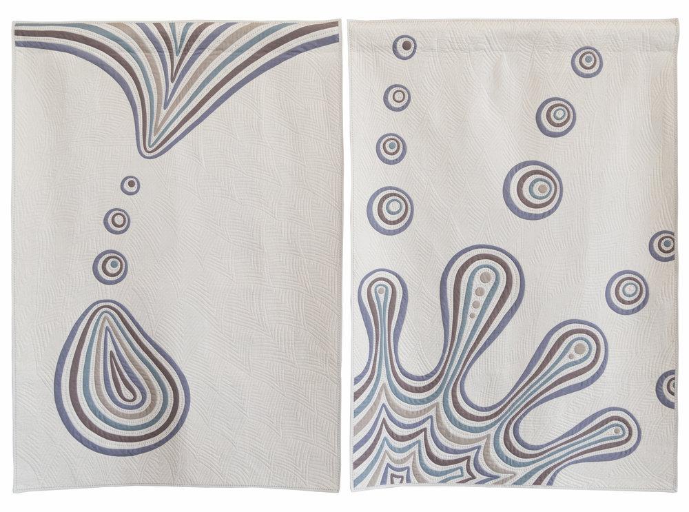 "1st Place: DripnSplash  84"" x 60"" Pieced & quilted by Katherine Jones Tasmanian MQG"