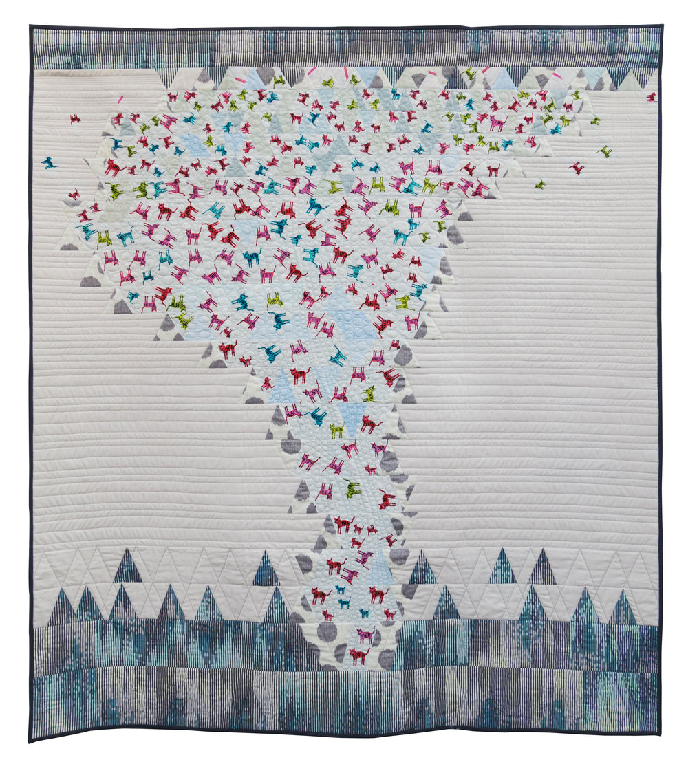 """2nd Place: Catnado  56"""" x 61"""" Pieced & quilted by Karen Duling Individual Member"""