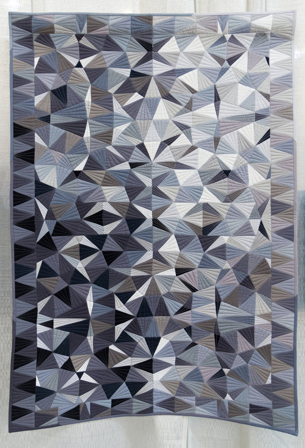 """3rd Place: Facets  25"""" x 37"""" Pieced & quilted by Katherine Jones Tasmanian MQG"""
