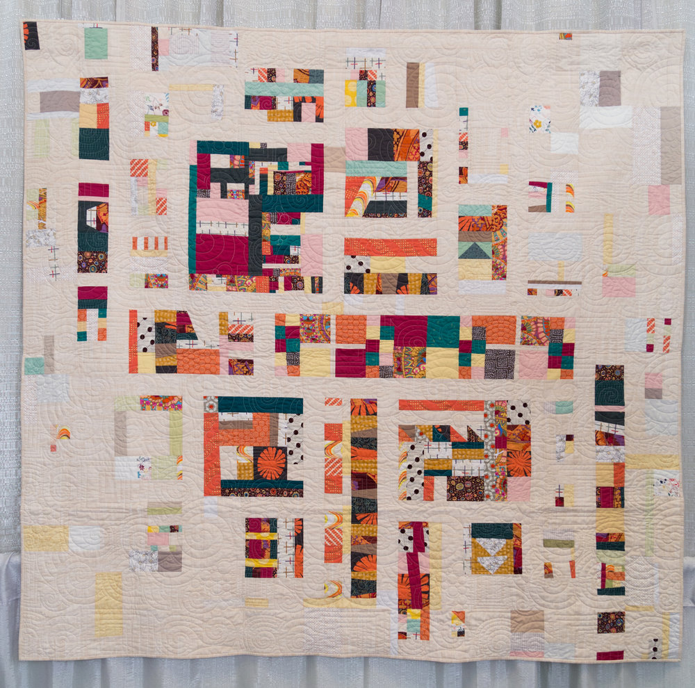 """2nd Place: Pathways  77"""" x 73"""" Pieced by Janet Schoenfeld, Summer Rankin, Elaine Wienholt, Cindy Barcelles, Deb Kleiner, Judy Dunlap Quilted by Maria O'Haver Baltimore MQG"""