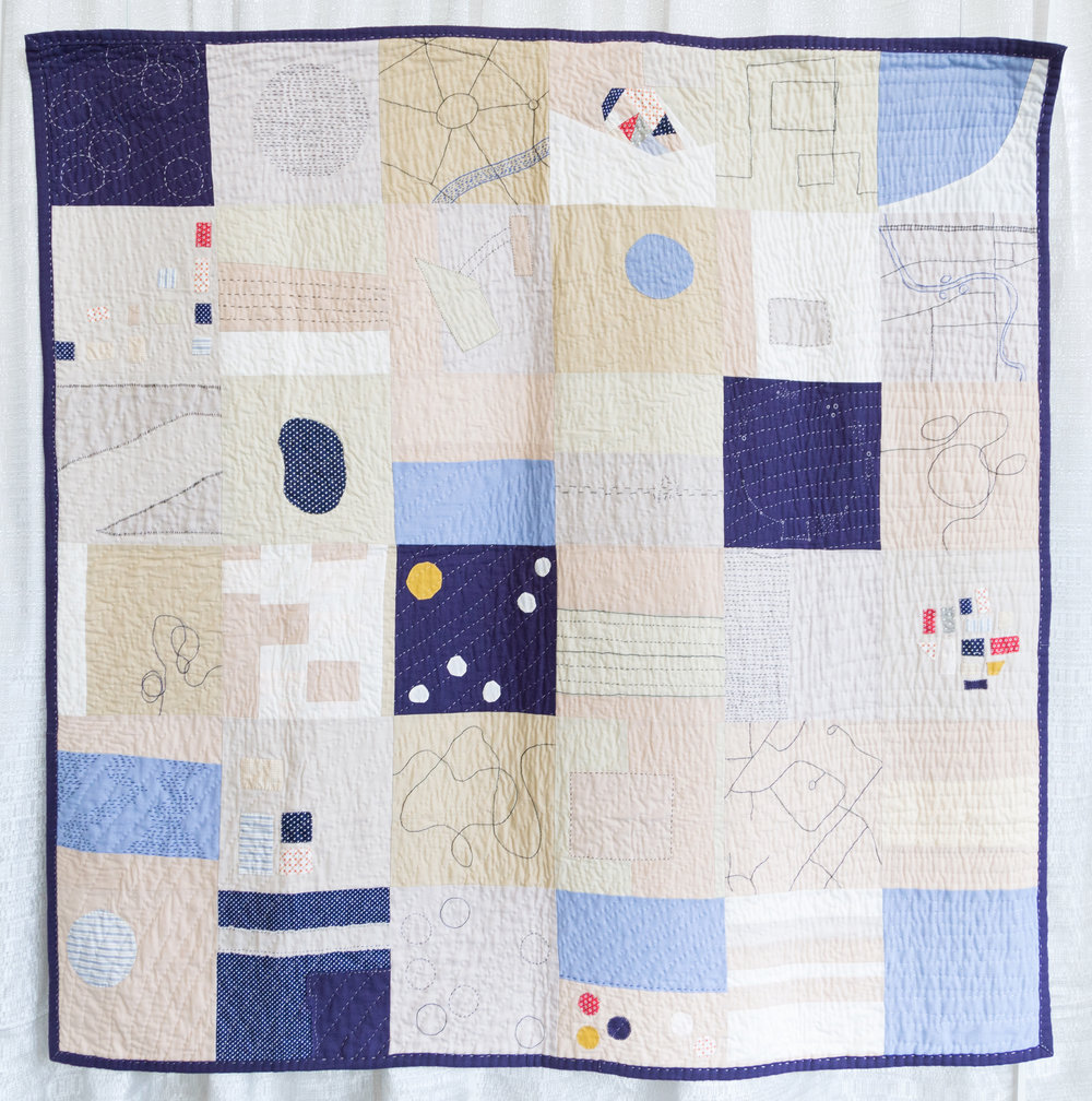 """1st Place: Places Unfold  59"""" x 59"""" Pieced & quilted by Heidi Parkes Individual Member"""