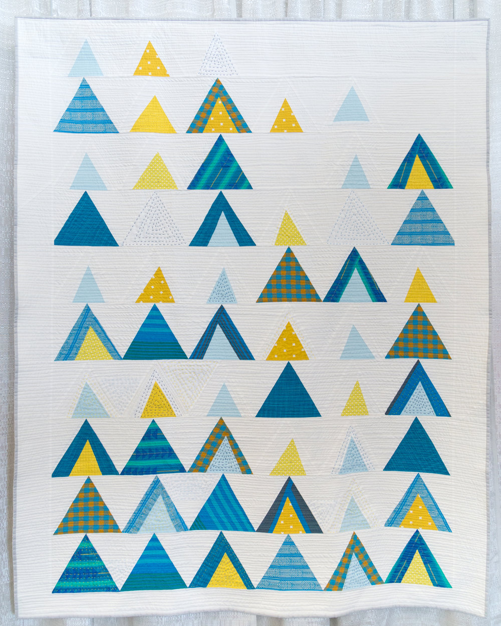 """3rd Place: Mod Mountains  50"""" x 64"""" Pieced & quilted by Susanne Williams Individual Member"""
