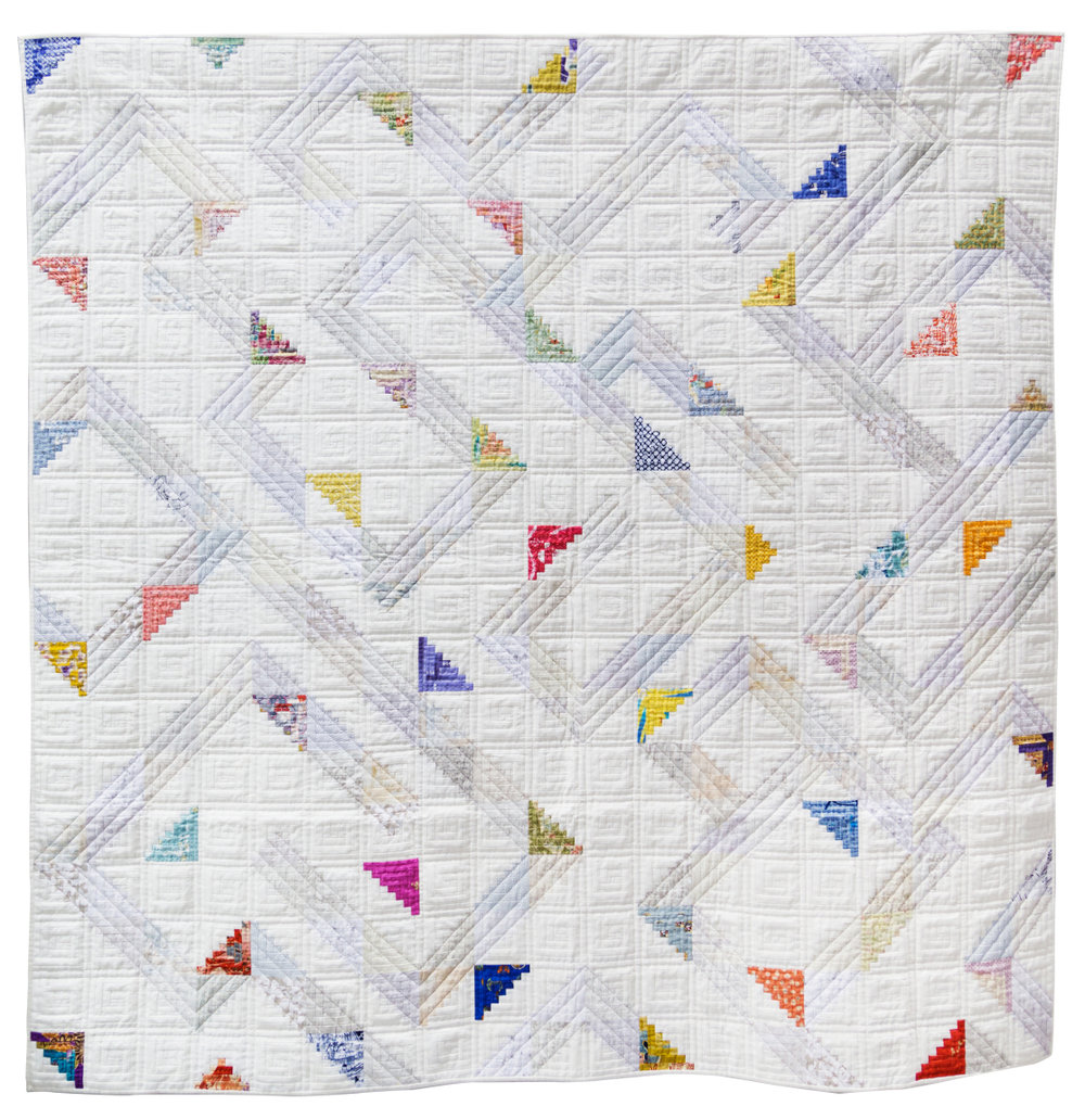 """1st Place: Whimsical Logs  66"""" x 67"""" Pieced by Letitia Chung Machine quilted by Laurie Grant Sashiko by Letitia Chung Individual Member"""