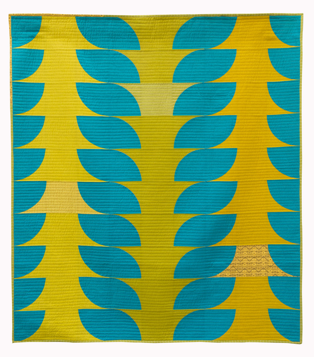 """2nd Place: Flounce  52"""" x 57 Pieced & quilted by Melanie Tuazon North Jersey MQG"""