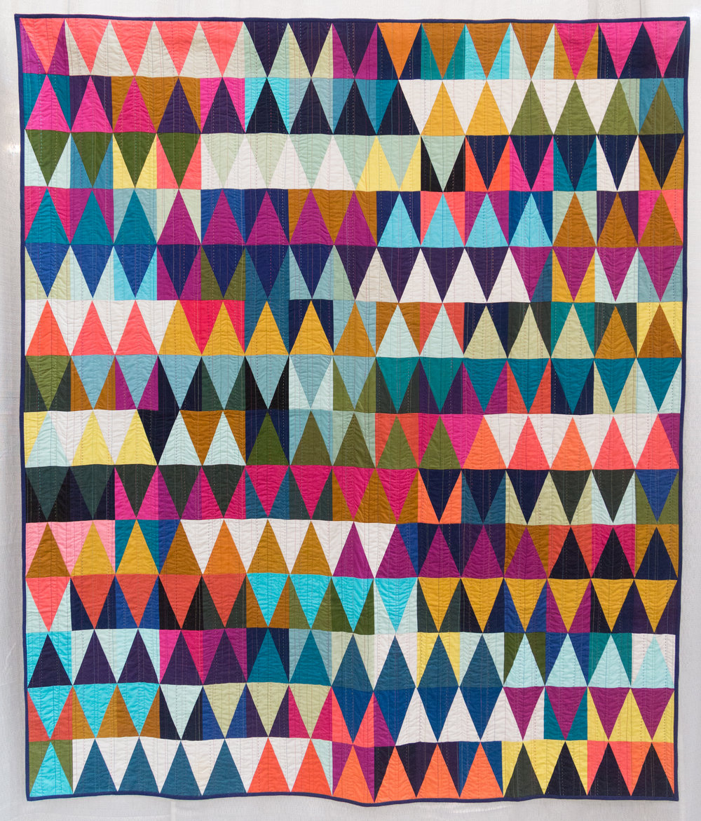 """3rd Place: Diamonds Quilt #2  59"""" x 69"""" Pieced & quilted by Tara Faughnan Individual Member"""