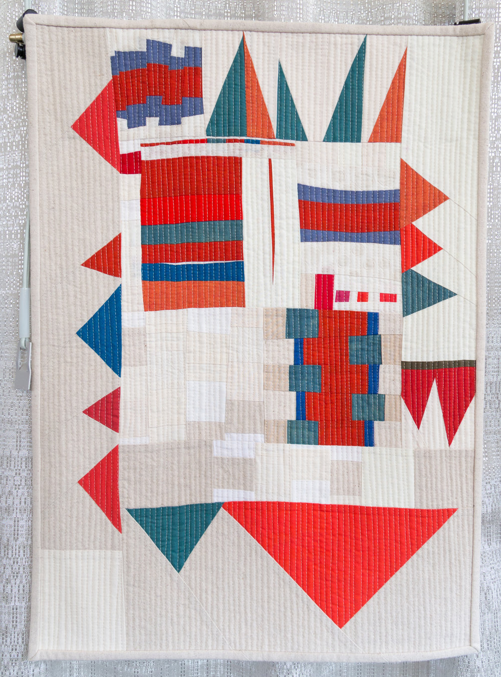 """1st Place: Modern Improv Sampler  17"""" x 24"""" Pieced & quilted by Kristin Shields Central Oregon MQG"""