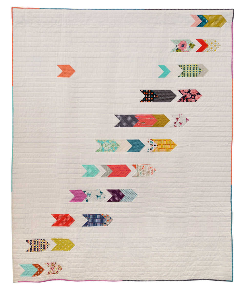 """3rd Place: Catching Up  68"""" x 84"""" Pieced by Kathryn Simel Quilted by Stacey Bendure Maine MQG"""