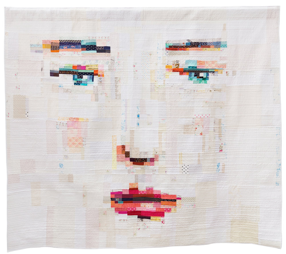 "Face #1  90"" x 80"" Pieced by Melissa Averinos Quilted by: Melissa Averinos & Suzanne Whiteside West Barnstable, Massachusetts Individual MQG Member"