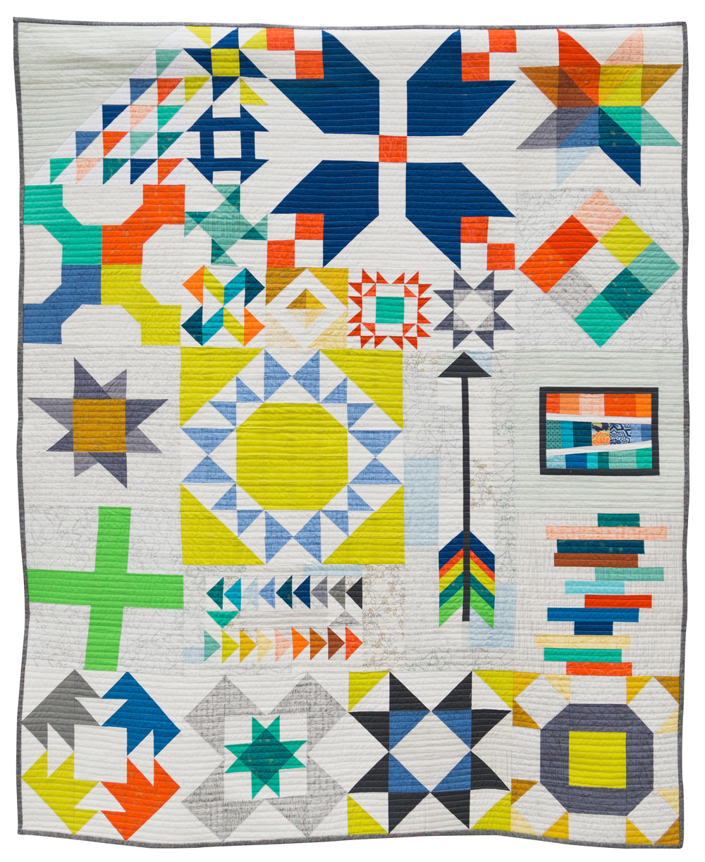 "1st Place: Long Island Modern Sampler  48"" x 59"" Pieced & Quilted by Kim Soper Centerport, New York Individual MQG Member"