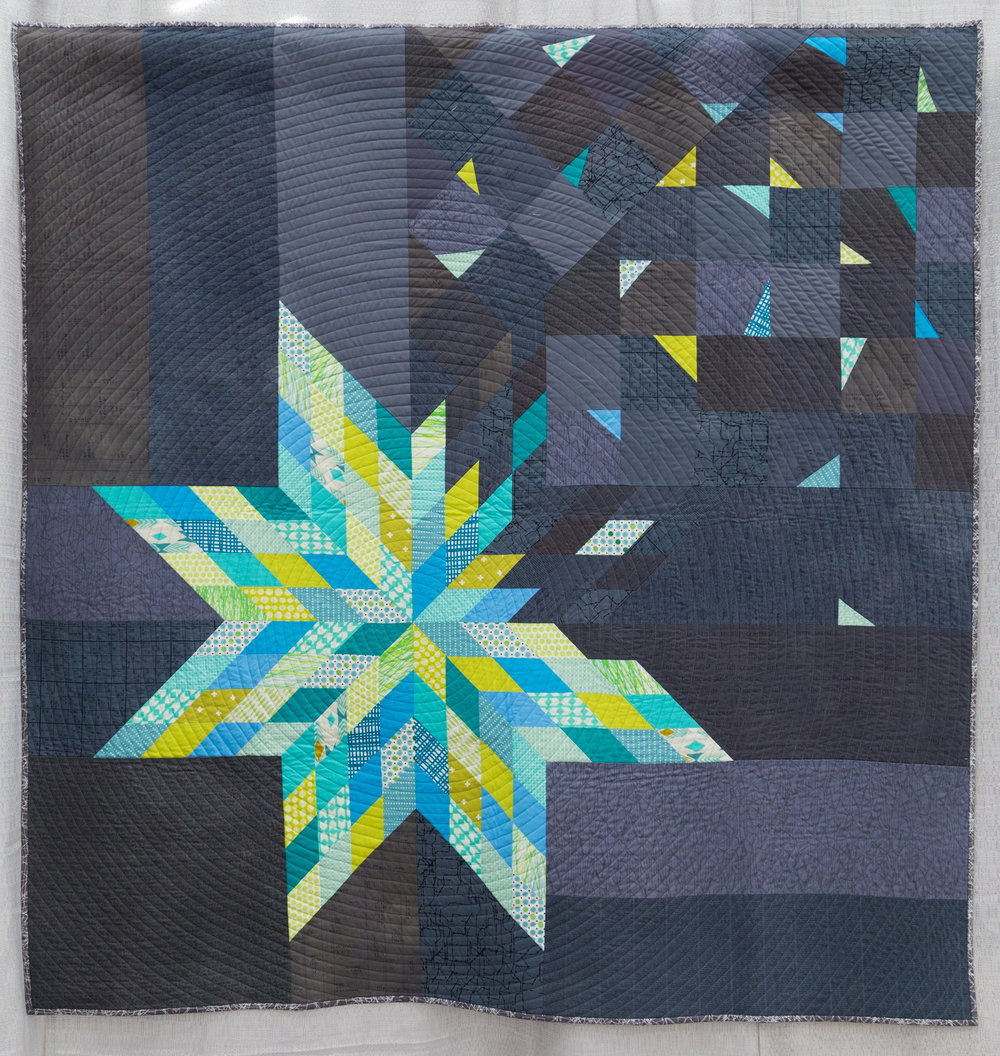 "2nd Place: Deconstructed LoneStar  58"" x 60"" Pieced & Quilted by: Amy Struckmeyer Oak Park, Illinois Chicago MQG"