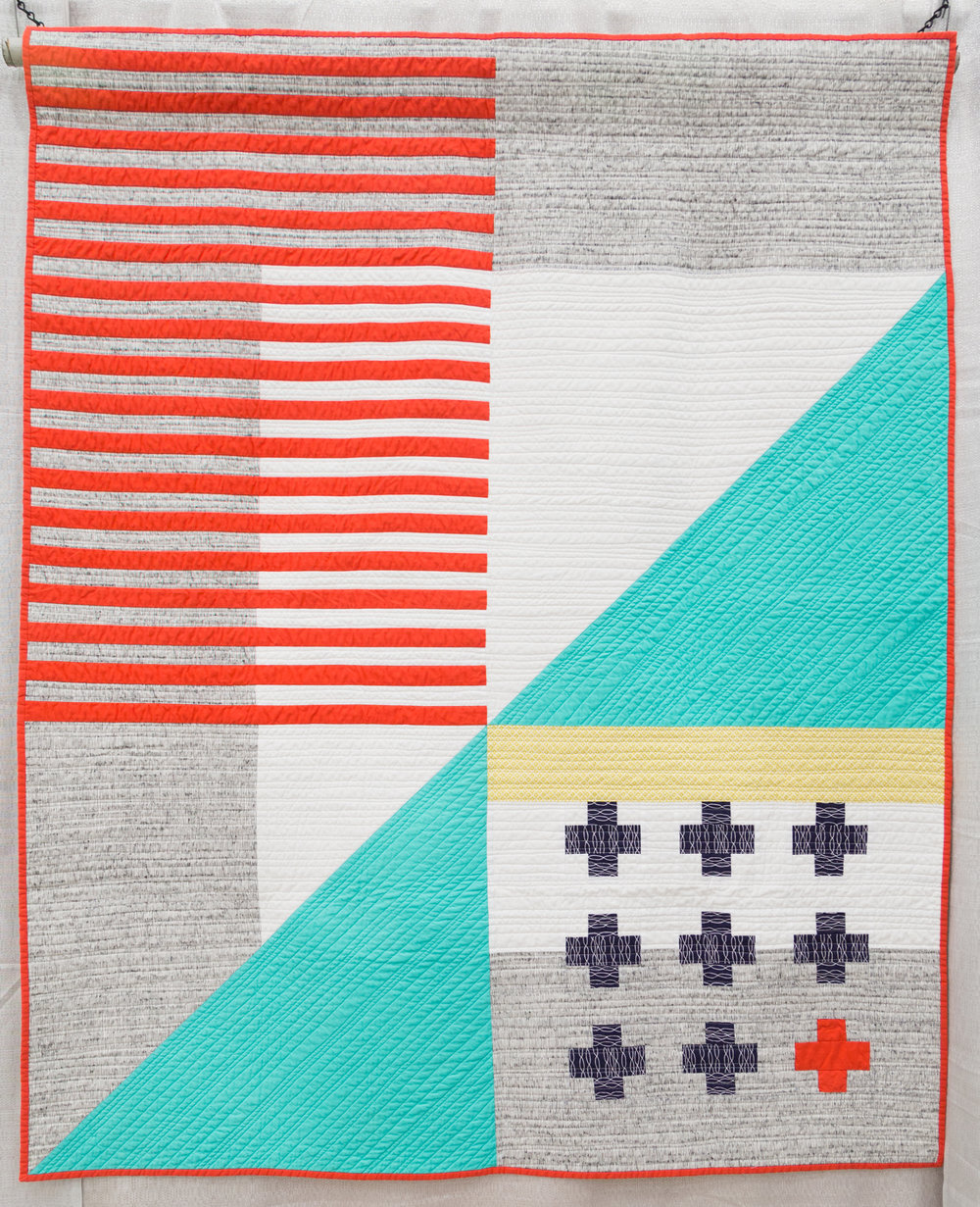 """3rd Place: Emergent   48"""" x 59"""" Pieced & Quilted by: Kari Vojtechovsky Centennial, Colorado Individual MQG Member"""