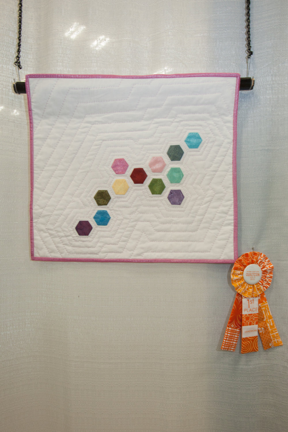 1st Place: Modern Mini  Pieced and quilted by Carolyn D. Braun