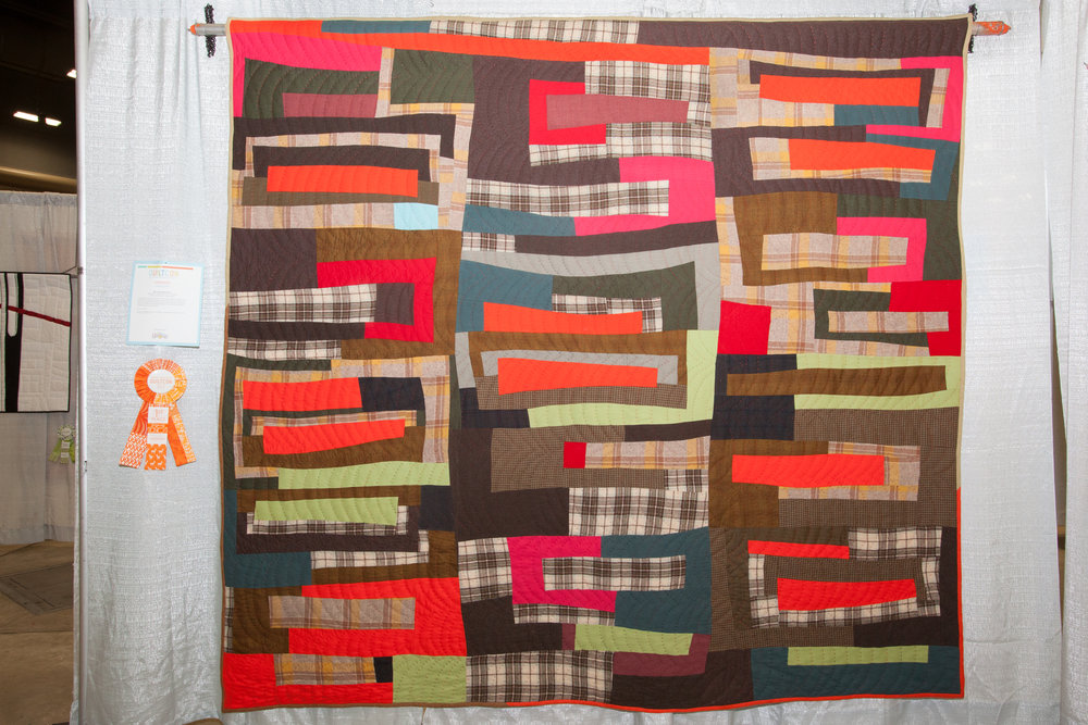 1st Place: Log Cabin Improv  Pieced and quilted by Sherri Lynn Wood