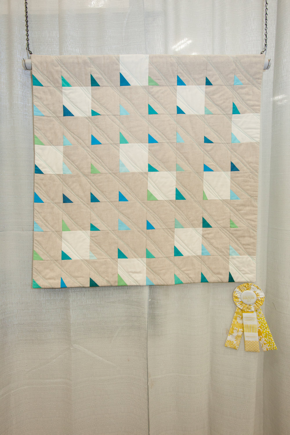 Honorable Mention:Sea Glass on Sand  Pieced and quilted by Felicity Ronaghan