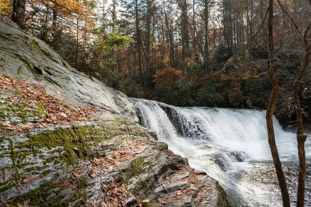 Hooker Falls is one of four major waterfalls inside DuPont State Recreational Forest near Brevard, NC. It is one of the most accessible and fun places to stop and have a picnic and a quick dip in the water. It was too cold for me in November!