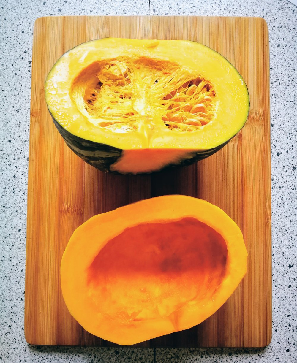 Kabocha squash before and after removing seeds (see step one)