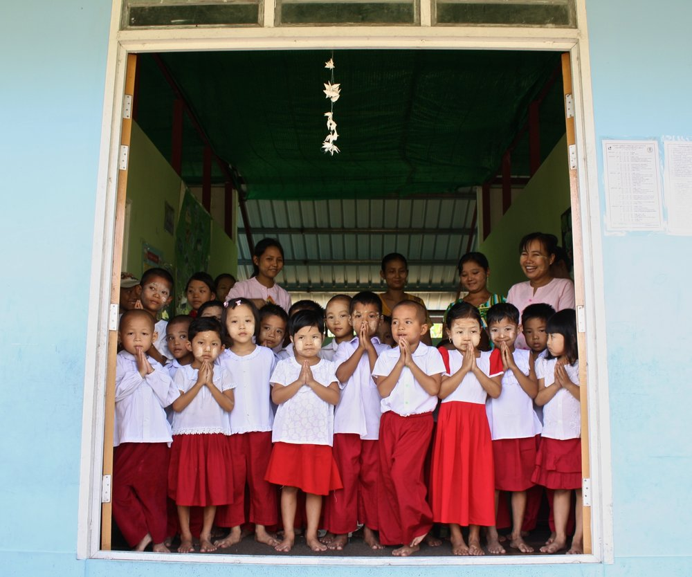 Students at one of the many preschools Build a School in Burma has funded and constructed with help from local NGO's and the community.