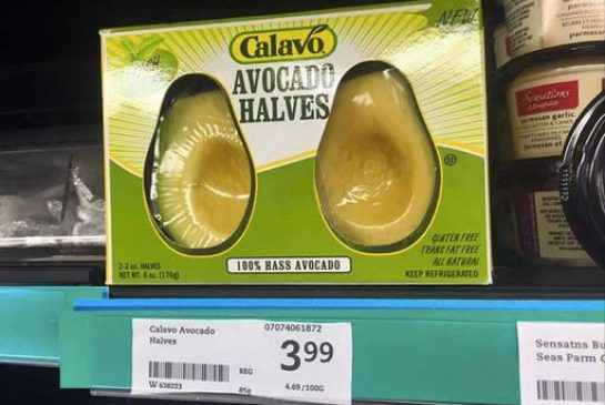 Plastic packaging is destroying our planet. Examples of excessive prepackaging - Avocado Halves by Calavo