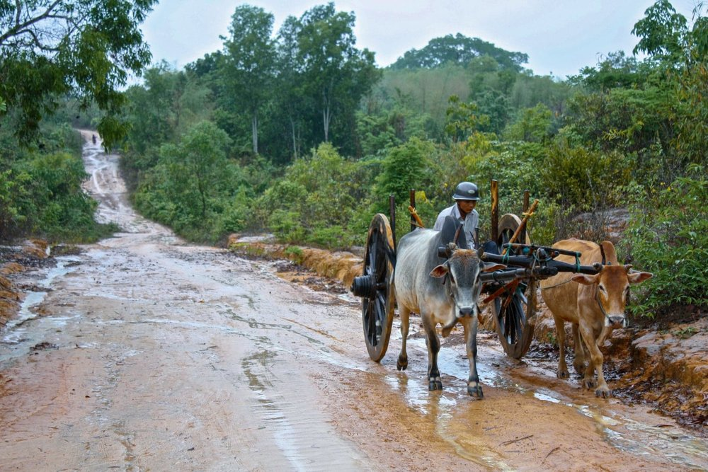 Roads quickly turn into rivers during the rainy season in Myanmar.