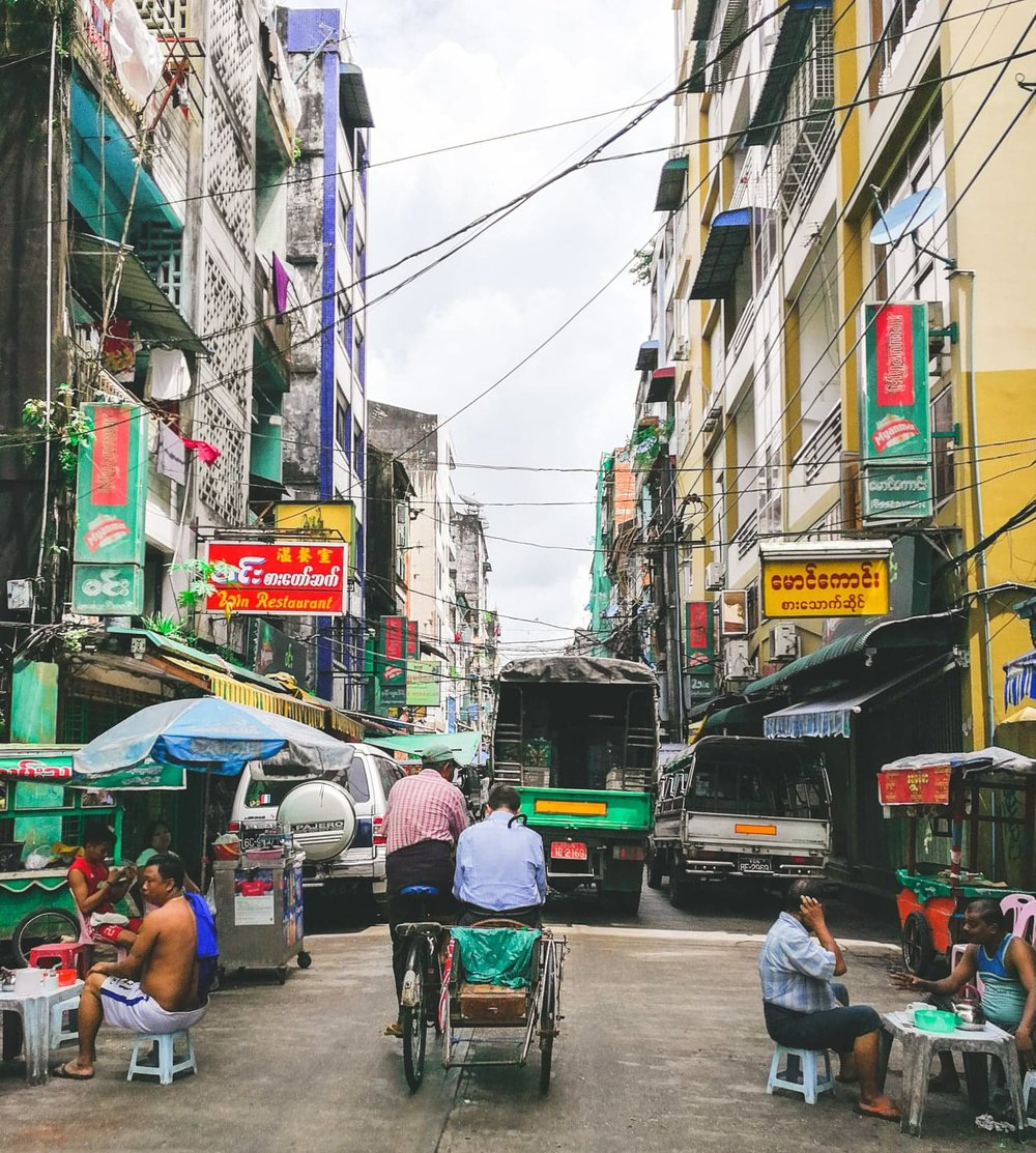 The bustling streets of Yangon's China Town.