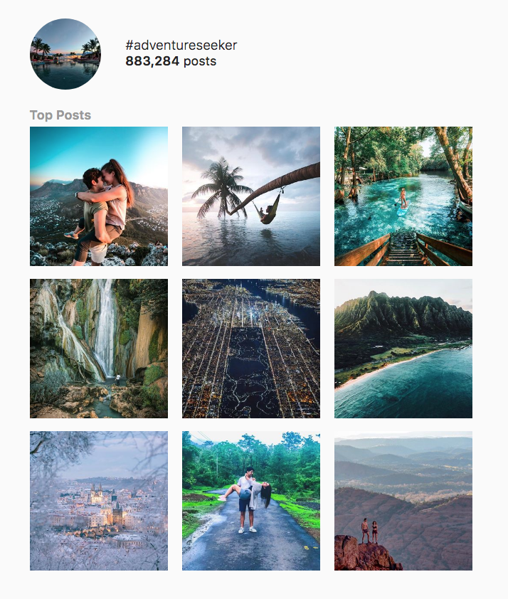 The top nine posts for #adventureseekers