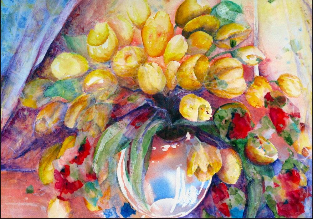 Bowl of Yellow Tulips