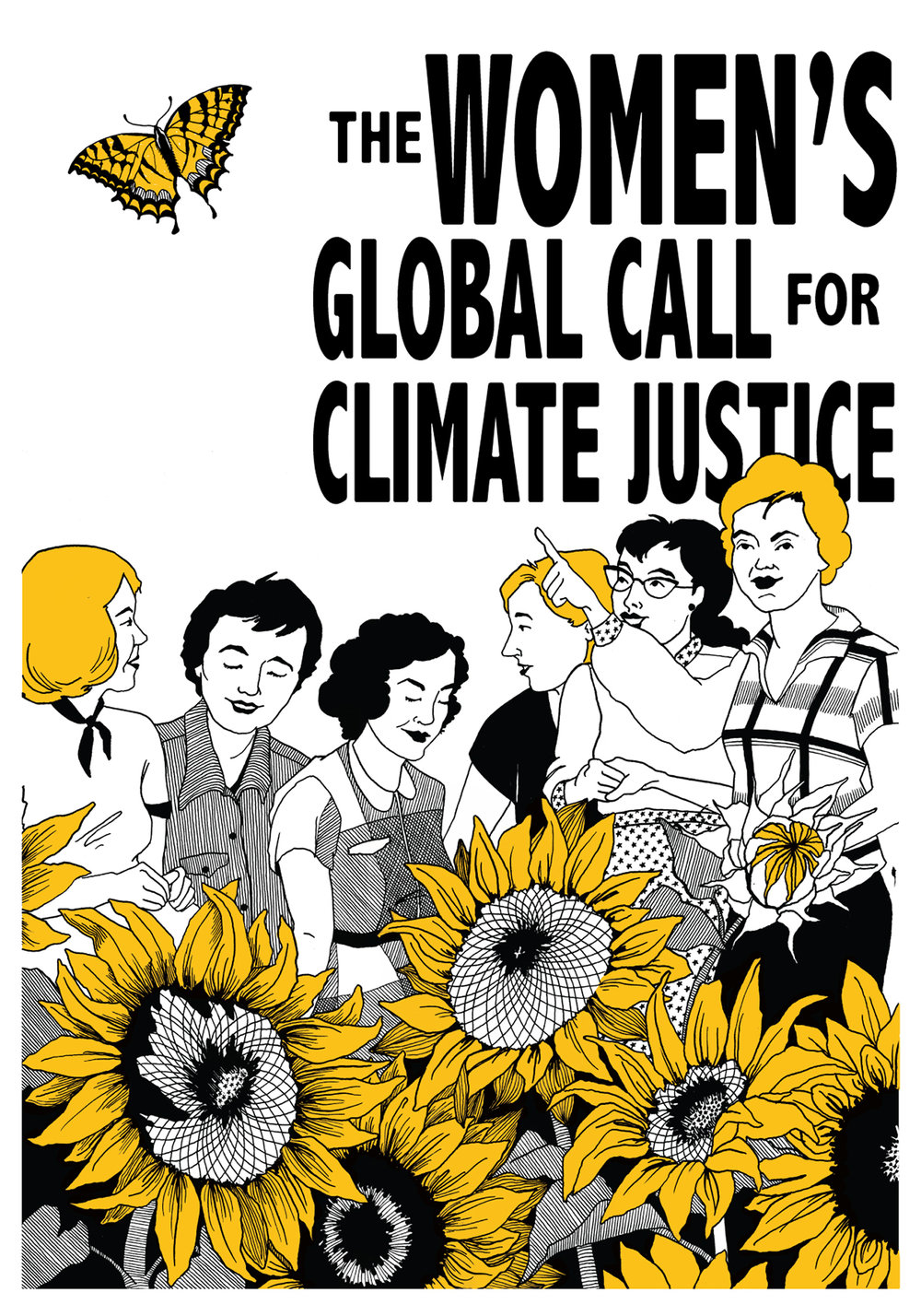 The Women's Call for Climate Justice Poster Design - runner-up // India ink, digitally colored