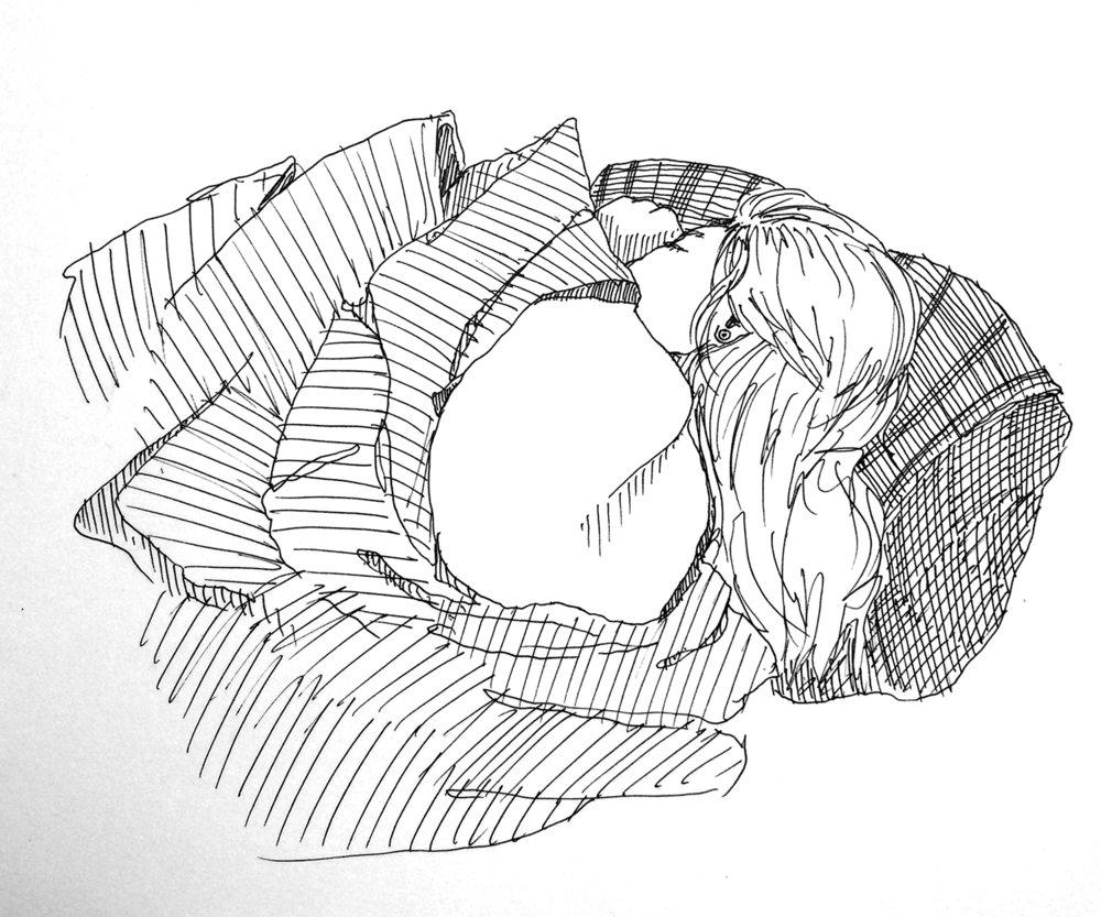 Tav Sleeps // Ink Pen