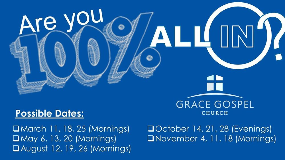 "Grace will be offering 5 ""All In ""classes throughout 2018 and we want EVERYONE to join! If you're already a member of Grace, you can be refreshed and reminded as we talk through who we are as a Grace Family, why we do what we do, and where we are headed in the future! If you are interested in becoming a member, this is your first step! Discover why church membership is important and what it means to be a member of the Grace Family!  Sign up online at  https://www.surveymonkey.com/r/JLC5ZC9 !"