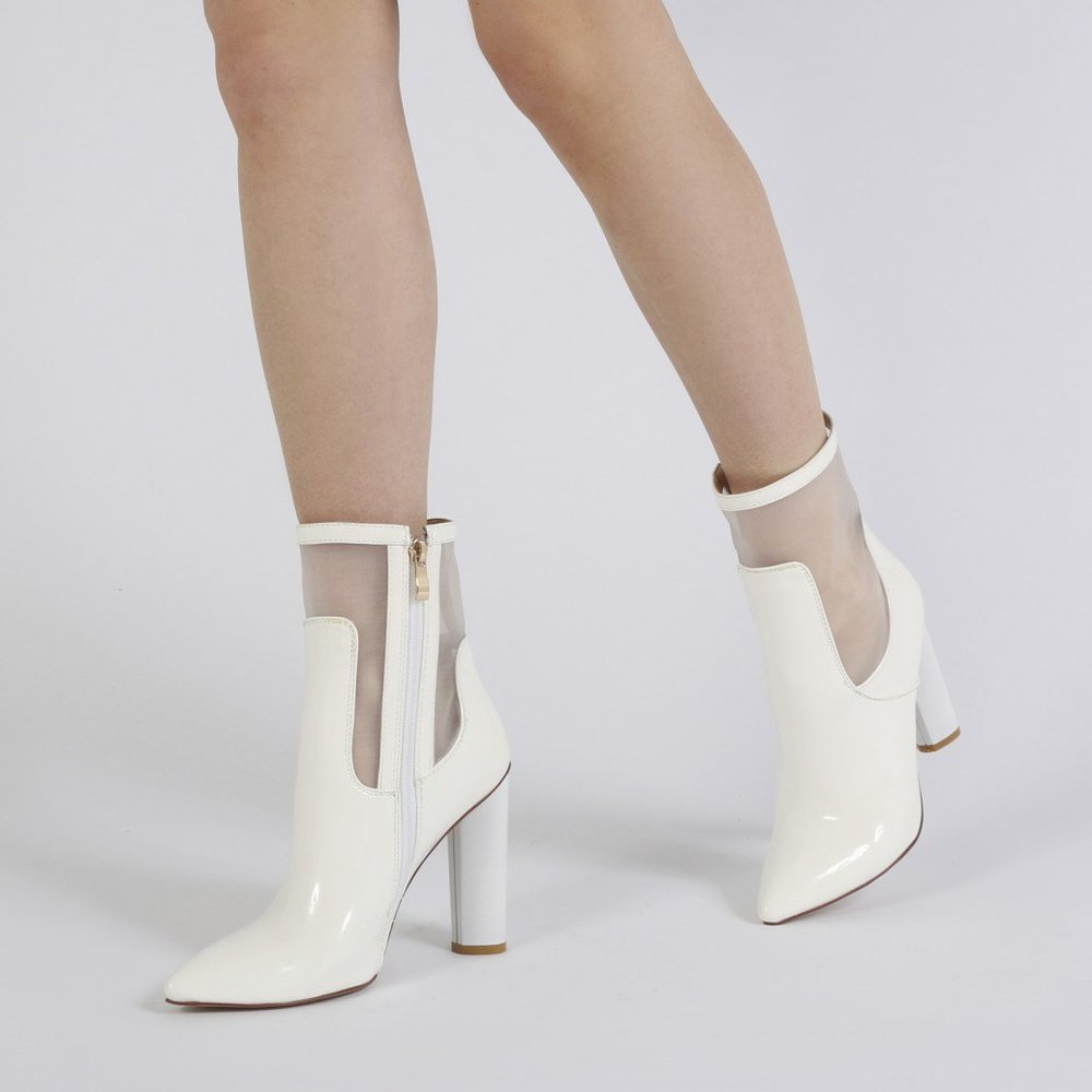 hadley pointed toe mesh detail ankle boots - themidimaven.com