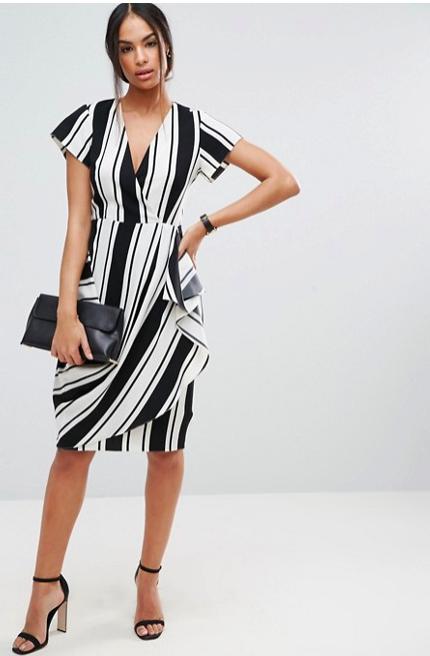 ASOS Drape And Waterfall Skirt Dress in Stripe