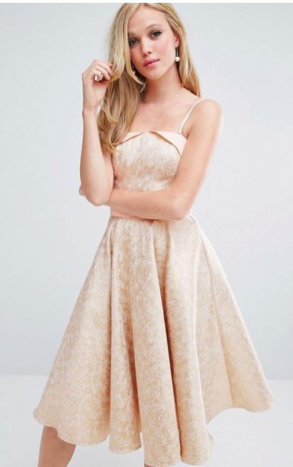 Chi Chi London Jacquard Midi Dress With Full Circle Skirt